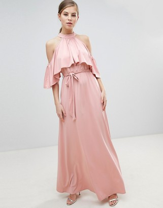 Little Mistress Belted Maxi Dress With Frill Overlay-Pink
