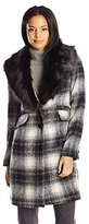 Laundry by Shelli Segal Women's Plaid Wool-Blend Coat with Faux Fur Collar