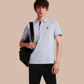 Burberry Printed Check Placket Cotton Piqué Polo Shirt