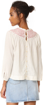 Rebecca Taylor Smocked Twill Top