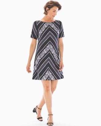Soma Intimates Botanical Shift Dress Black/White