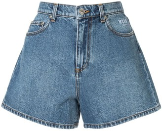 MSGM Cat Print Denim Shorts