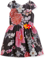 Zoë Ltd Cap-Sleeve Floral Mesh Dress, Multicolor, Size 7-16