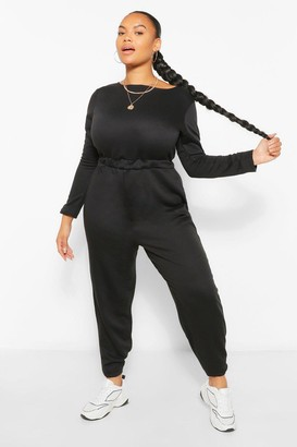 boohoo Plus Crew Neck Long Sleeve Sweat Jumpsuit