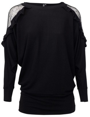 Dorothy Perkins Womens *Izabel London Black Lace Detail Slouchy Jumper, Black