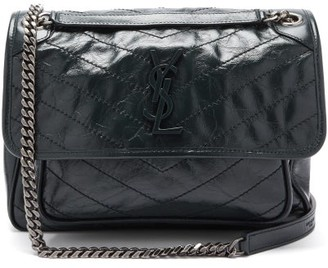 Saint Laurent Niki Chevron-quilted Creased-leather Shoulder Bag - Dark Green