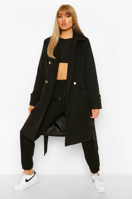 boohoo Double Breasted Military Belted Wool Look Coat