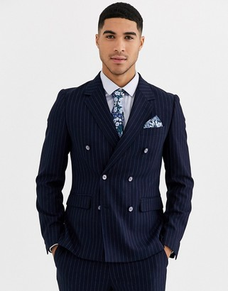Gianni Feraud Skinny Fit Wool Blend Double Breasted Pinstripe Suit Jacket