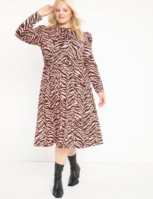ELOQUII Scarf Neck Dress With Slit