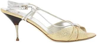 Prada \N Gold Glitter Heels