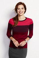 Classic Women's Petite Supima 3/4 Sleeve Crewneck Sweater-Bright Cherry Plaid
