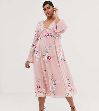 Asos DESIGN Curve embroidered midi dress with lace trims-Pink