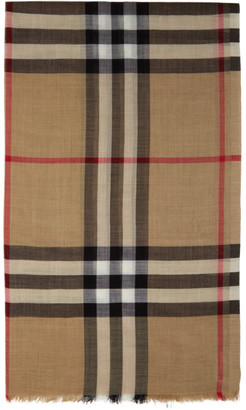 Burberry Beige Gauze Giant Check Scarf