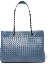 Bottega Veneta Shopper Large Intrecciato Leather Tote - Blue