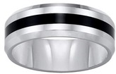 Zales Triton Ladies' 8.0mm Comfort Fit Tungsten and Black Resin Stripe Wedding Band