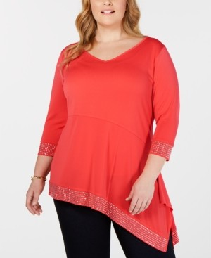 Belldini Black Label Plus Size Embellished Asymmetrical Tunic