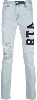 RtA High Rise Skinny Fit Logo Embroidered Jeans