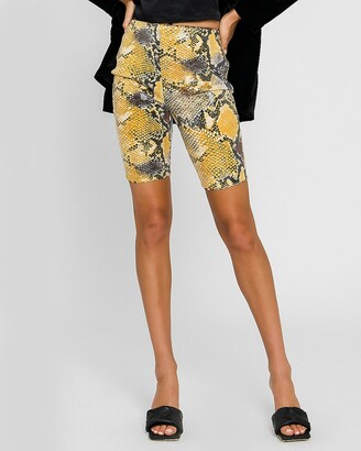 Express Grey Lab Snakeskin Sequin Biker Shorts