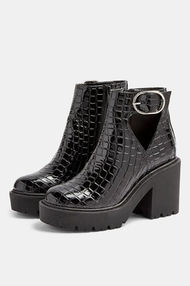 Topshop Womens Bryce Black Patent Crocodile Cut Out Boots - Black