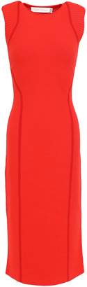 Victoria Beckham Ajoure Pointelle-trimmed Stretch-knit Midi Dress