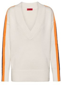 HUGO BOSS Oversized Fit Sweater In Cotton And Cashmere - Natural