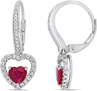 Bellini Bellin 1.55 cttw Ruby & Sapphire & 1/10 cttw Diamond Earrings