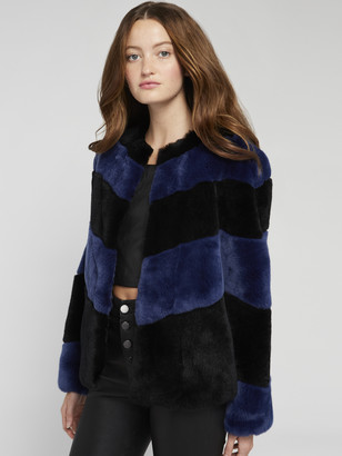 Alice + Olivia Theon Striped Cropped Coat