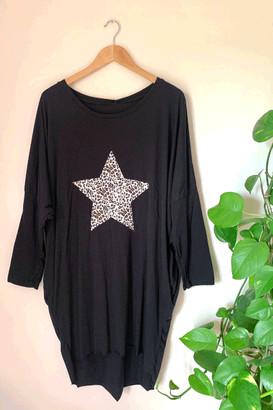 Belle Modelle Belle-Modelle - Long Sleeve Star T Shirt Tunic Black