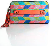 Milly MultiColor Leather Embroidered Rectangular Tassle Medium Clutch Bag