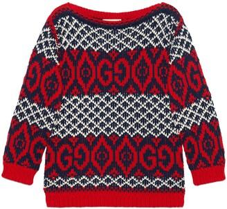 Gucci Children's cotton GG jacquard sweater