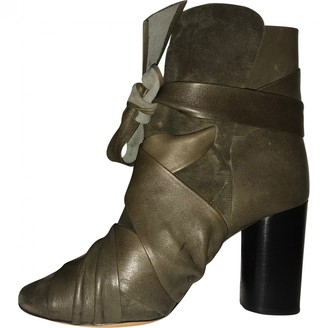 Isabel Marant Khaki Leather Ankle boots
