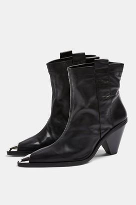 Topshop Womens Mellie Black Leather Toe Cap Boots - Black