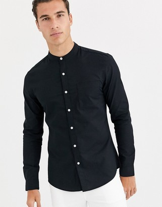 Topman long sleeve oxford shirt with grandad collar in black