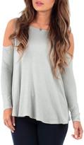 California Trading Group Women's Tunics Women's - Sage Drape Cold-Shoulder Tunic - Women