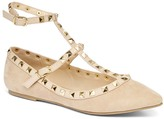 Wild Diva Natural Studded Ankle-Strap Pippa Flat