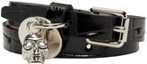 Alexander McQueen Black Croc-Embossed Double Wrap Bracelet