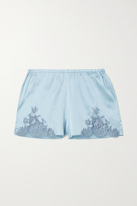 I.D. Sarrieri Hotel Particulier Chantilly Lace-trimmed Silk-blend Satin Pajama Shorts - Sky blue
