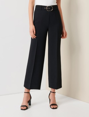 Forever New Nadine Petite Belted Culotte Pants - Black - 10