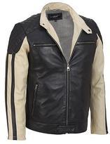 Black Rivet Mens Two-Tone Moto Leather Jacket 2XL Black
