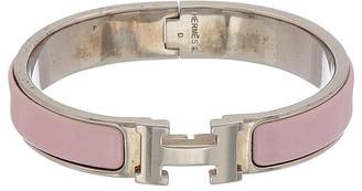 Hermes Palladium & Purple Enamel Narrow Clic-Clac H Bracelet