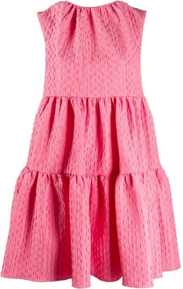 MSGM geometric pattern tiered dress