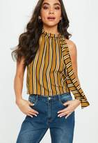 Missguided Yellow Halterneck Stripe Crop Top