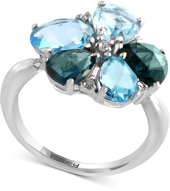 Effy Blue Topaz (5-3/8 ct. t.w.) & Diamond (1/10 ct. t.w.) Ring in 14k White Gold