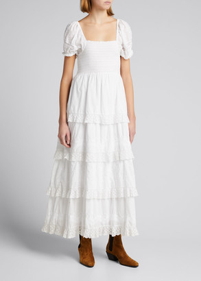 LoveShackFancy Capella Smocked Cotton Tiered Dress with Lace