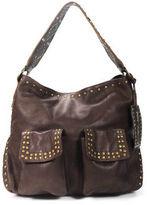 Betsey Johnson Dark Brown Leather Studded Pocket Front Hobo Handbag