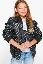 Boohoo Girls MA1 Heart Badged Bomber Jacket