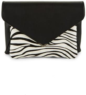 Sam Edelman Mila Suede & Zebra Calf Hair Envelope Clutch