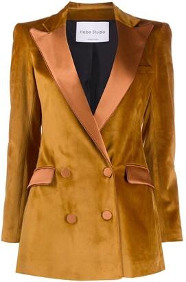 Hebe Studio Velvet Double-Breasted Jacket