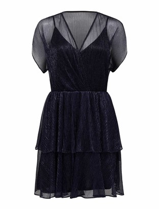 Forever New Kyra Plisse Skater Mini Dress - Navy - 10