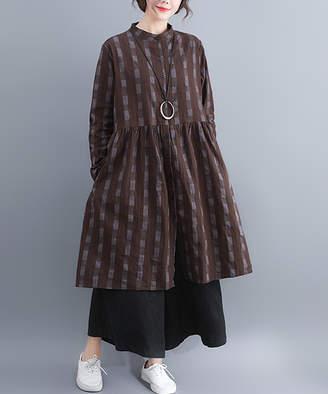 Belle De Jour Belle de Jour Women's Casual Dresses Coffee - Coffee Plaid Button-Front Linen-Blend Empire Waist Dress - Women